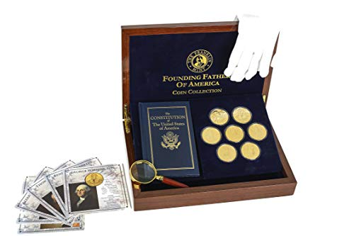 The Franklin Mint Founding Fathers Coin Collection - 7-Piece 24-Karat Gold-Plated Collectible Coins with Wood and Metal Storage Box - United States of America Leaders - Complete Collector Set -  Founding Father Coin Collection, BA