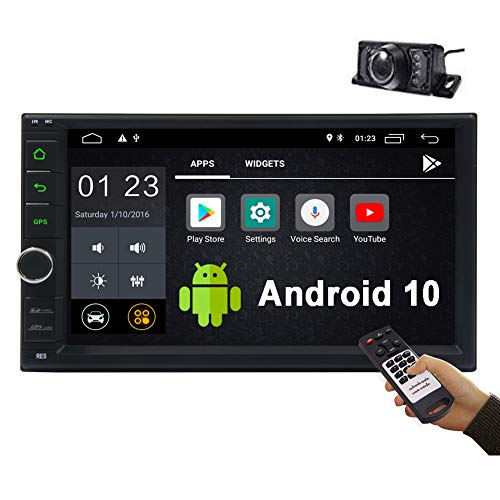 Android 10.0 Car Stereo Double Din 7 Inch in Dash Head Unit Touch Screen Car Radio Multimedia Player WiFi 4G Bluetooth FM/AM RDS Receiver GPS Navigation with Backup Camera&Remote Control(1G+16G)