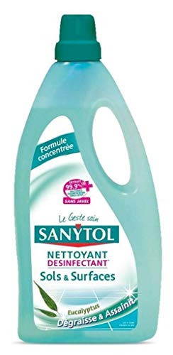 Sanytol Nettoyant Désinfectant Sols Et Surfaces Dégraisse Et Assainit Eucalyptus 1L (Lot de 3)