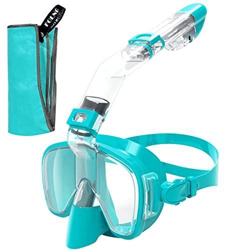 FOLNG Schnorchelmaske, Tauchmaske Anti-Fog Anti-Leak 180 ¡ã Panoramablick Kostenlose Nasenatmung Schnorchelausr¨¹Stung Schwimmbrille Tauchpakete mit Kamerahalterung
