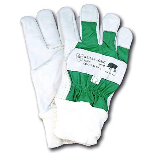 Keiler Forsthandschuh 16060 aus Rindnarbenleder, verstärkte Finger, komplett gefüttert, wasserdichter Handrücken, EN 388, EN 420, 1 Paar, Weiß/Grün (10,5)