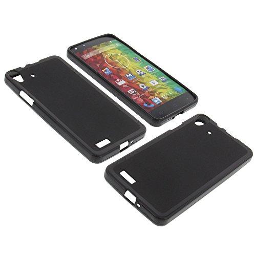 foto-kontor Tasche für MEDION Life X5001 Gummi TPU Schutz Hülle Handytasche schwarz