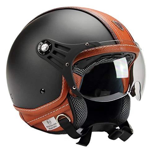 BNO 0P01-PL26 Jethelm Matt + Kunstleder, Motorradhelm, Schutzhelm Helm in der Größe M