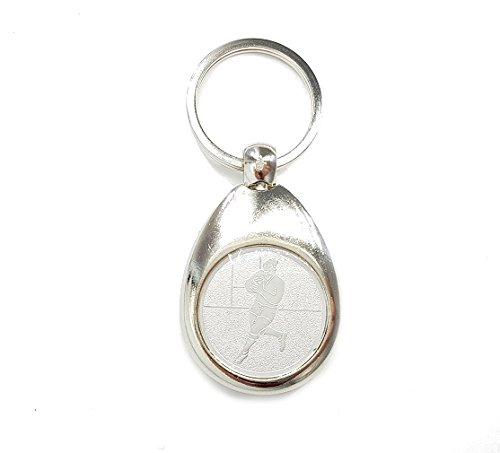 Footballspieler Motiv Schlüsselanhänger mit Einkaufswagenchip Football edel elegant Silber glänzend Chip