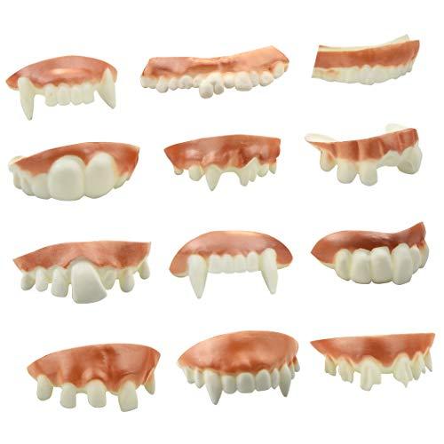 Marrywindix 12 Pieces Gnarly Teeth Gag Teeth Ugly Fake Teeth Vampire Denture Teeth for Halloween Costume Party Favors Photos Props (12 Styles)