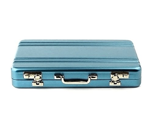 TONSEE Metal Mini Briefcase, Card Holder Case Box (Blue)