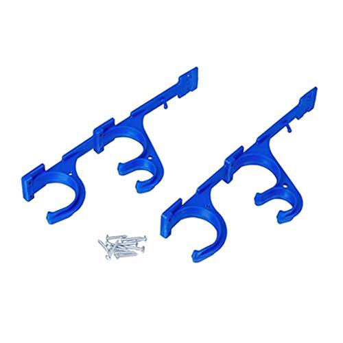 Deshunchang Sostenedor del Gancho 2pcs plástico Piscina Polo Conjunto de la Percha Skimmer Hoja Rastrillos Piscina Accesorios
