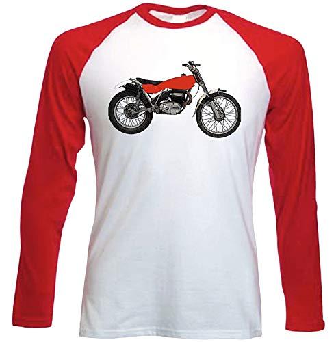 Teesandengines Bultaco Sherpa t 250 Camiseta de Mangas roja largas t-Shirt Size Large