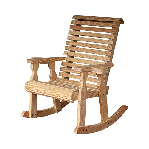 Amish Heavy Duty 600 Lb Roll Back Pressure Treated Rocking Chair with Cupholders (Unfinished)