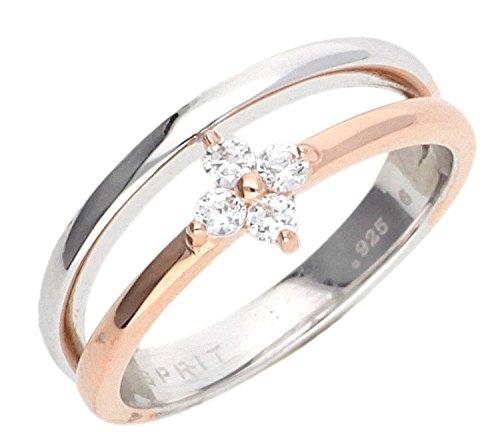 Esprit Damen-Ring Silber vergoldet Zirkonia delicate blossom rose weiß ESRG92501A170