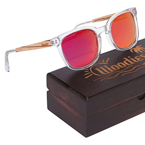 WOODIES - Gafas de sol de acetato transparente con lentes polarizadas en caja de madera (rojo)