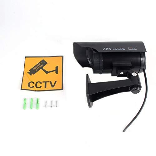 Cámara Falsa con energía Solar de simulación CCTV de Alta simulación Cámara Falsa Intermitente Luz roja LED Monitor de cámara de batería de Seguridad para el hogar - Negro