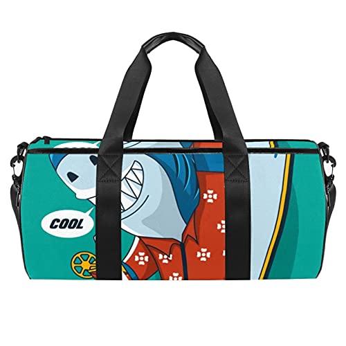 Sport Duffel con Uomini/Donne Danza Viaggio Weekender Palestra Borsa Blu Acquerello Fiore Modello Senza Cuciture, Fresco Shark Surf, 45x23x23cm/17.7x9x9in,