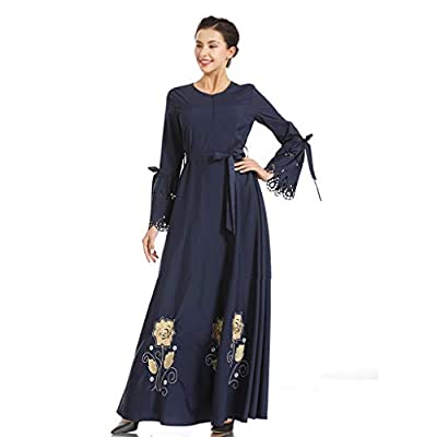 JustWin Women's Embroidered Print Maxi Dress Slim Elastic Waist Solid Color Leisure Long Dress