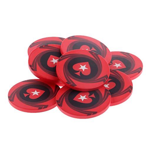 perfeclan 10 Piezas Nuevo Lote a Granel de Fichas de Póquer de Calidad de Casino de Corazón Rojo Suavizante de Cerámica de 10 G - Rojo