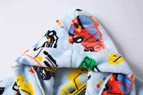 Chichidog Fleece Dressing Gown Kids Towelling Robe Boys Bathrobe Plush Super Soft Little Car 2-3 Years