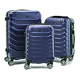 R.Leone Valigia Set 3 Trolley Rigido grande, medio e bagaglio a mano 8 ruote in ABS 2026 (Blu, Set 3 S M L)