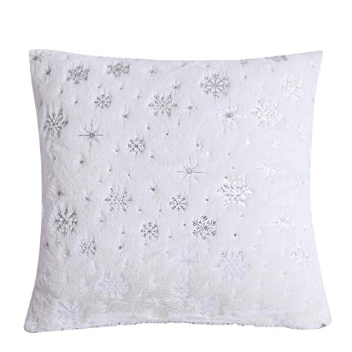 Fulinmen Plush Toy,Snowflake Plush Throw Pillow Case Cushion Cover Sofa Bed Car Cafe Office Decor,Made of US Cotton,Perfect Best Gift for Thanksgiving,Christmas,Valentine White (Size : White)