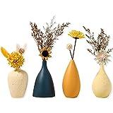 Sziqiqi Jarrones de Cerámica Pequeños para Flores Juego de Jarrones Decorativos para Sala de Estar Mini Jarrones Hechos Mano para Decoración de Centro de Mesa Jarrón Moderno Juego de 4