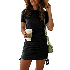 FANVOOK Women's V-Neck Long Sleeve Ruched Dresses Mini Bodycon Sheath Wrap Dress