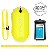 LimitlessXme Schwimmboje inkl. Handytasche - 15l Gelb. Sicherheit beim Schwimmen, Open Water und Triathlon. Swimming Buoy, Swim Bubble  SCHWIMM BOJE AUFBLASBAR