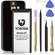 YONTEX Galaxy S7 Akku mit Ersatz Akkudeckel und Reparaturset mit Werkzeug, EB-BG930ABE 3000mAh Ersatzakku 0 Zyklus Batterie für Samsung Galaxy S7 (Schwarz)