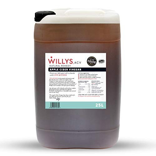Willy's Apple Cider Vinegar with Live Mother   25L   Raw & Unpasteurised   Packed with Gut-Loving Beneficial Bacteria & enzymes   Great for Pickling, households, Kitchen   Gluten-Free & Handmade in UK