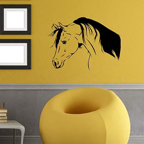 Afneembare 57X80cm paarden hoofd kamer muur sticker Art slaapkamer Sticker Home Decor paard muur Sticker Vinyl behang