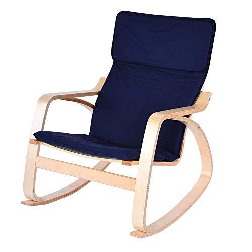 LLDKA schommelstoel, wiegstoel, hout, berk, relaxfauteuil, wiegstoel, schommelstoel, ergonomisch, zacht, 67 x 78 x 87,5 cm