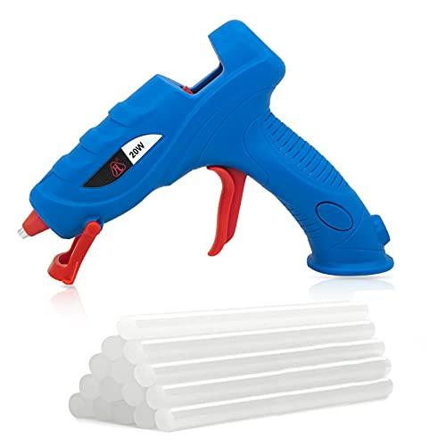 FL Hot Glue Gun, High Temperature Hot Melt Glue Gun Kit with 15 pcs Glue Sticks, Packaging, DIY, Arts & Craft, Repair and More (Light Blue-20W)