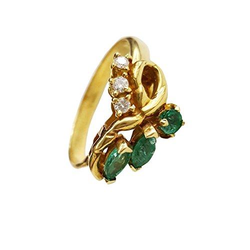 Anillo para mujer oro 18kt 750 esmeralda natural 0,40 ct y diamantes 0.08 ct anillo compromiso diamante