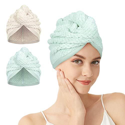 Turbante – 2/3 toallas de microfibra para el pelo, secado rápido, turbantes con botón, toalla absorbente para el pelo largo