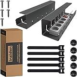 INSIDEN - kit completo para gestión de cables - 2 x soporte de cable metálico 40cm, 5 x clips cables, 5 x sujeta cables, 5 x tornillos - organizador de cables - bandeja para cables - esconde cables
