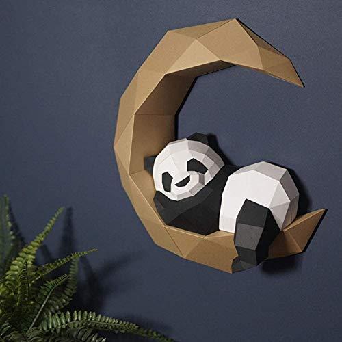 YXYOL DIY Panda Escultura Rompecabezas, Juguetes artesanales de Papel Hecho a Mano Actividad Puzzle, 3D Modelo de Papel de Origami, Bricolaje Luna Panda Art Paper Craft, 3D Animal Pared Montada