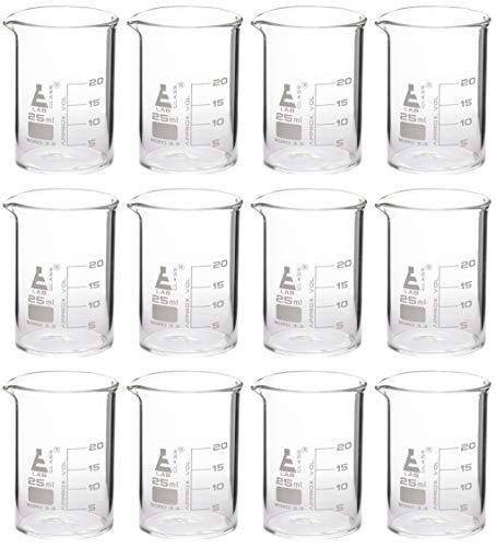 12 Pack Beakers, 20ml - Borosilicate Glass, Low Form - Eisco Labs