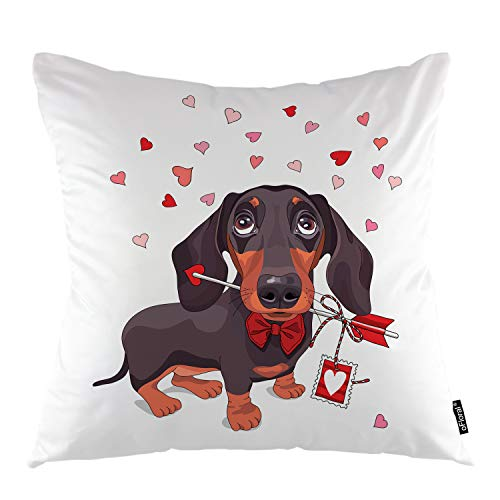 oFloral Dog Throw Pillow Covers Dachshund Dog Puppy Animal Love Arrow Decorative Square Pillow Case 18'X18' Pillowcase Home Decor for Sofa Bedroom Livingroom