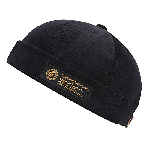 Men Hats Docker Cap Hats Beanie Sailor Cap Worker Hat Rolled Cuff Retro Brimless Hat with Adjustable