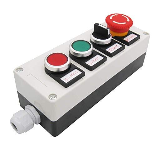 Taiss Interruptor de botón de encendido y apagado, interruptor de presión, color rojo y verde, 3 posiciones, interruptor de selección de bloqueo 2NO HZ-11ZS-20X-GR