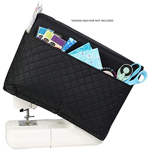 Everything Mary Deluxe Quilted Fabric Sewing Machine Cover, Black - Covers Singer, Brother & Most Standard Machines - Protective Dust Case Bag with Storage Pockets for Needles & Accessories