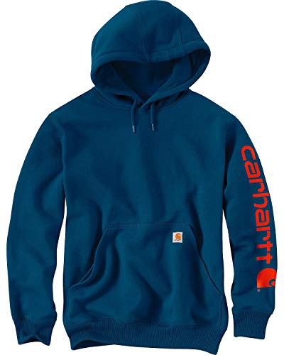 Carhartt Men's Midweight Sleeve Logo Hooded Sweatshirt (Regular and Big & Tall Sizes), Superior Blue, Medium