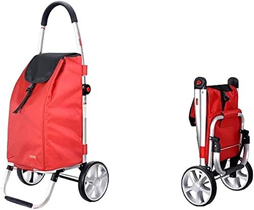 Eortzpc Carretilla de Mano Trolleys de Compras multifunción Almacenamiento de Cocina Utility-carros Carrito de Compras Plegable Trailer Trailer Equipaje Casa (Color: Rojo, Tamaño: 39x47.5x100cm),Carr