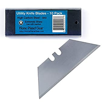 Utility Knife Blades Ten Pack for Box Cutter Blades Refills - 10 Heavy Duty SK5 High Carbon Steel Utility Blade in Convenient Storage Box - Standard 61mm x 19mm Fits Most Cutters & Knives