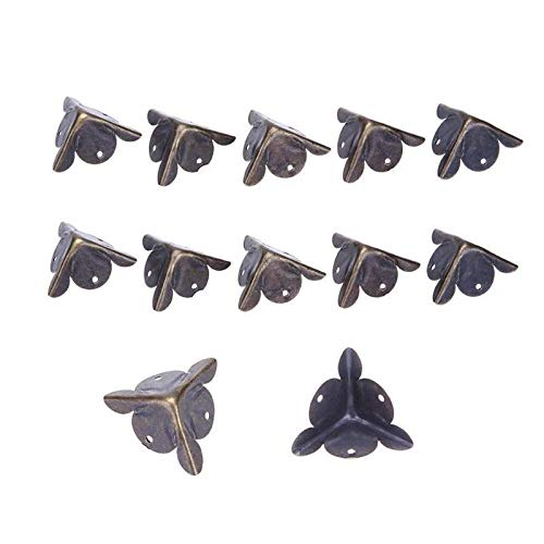 FEANG Corner Protector 12pcs Corner Brackets Furniture Decorative Corner Antique Wood Box Feet Leg Corner Protector Retro Metal Protection Cover Corner Guard