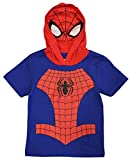 Marvel Avengers Little Boys' Toddler Spiderman Hooded Tee with Mask (3T) Royal/Red