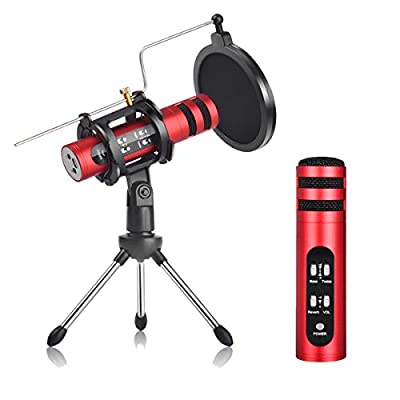 Voice Changer Microphone, Mini Recording Mic for Mobile Phone Tablet PC Computer with 3.5mm Audio Jack, Condenser Microphone for Live Streaming Popcast YouTube Music Recording Karaoke Singing- Red