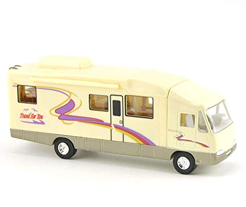 HAPTIME 7.6 inch Cool Mini Motorhome Toy Die-cast Pullback Recreational Vehicle Pull Back RV with DIY Furnitures Holiday Camper Van Model for Kids Children Gift (Beige)