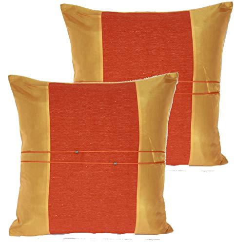 Fundas de cojín, para decorar la casa (sofá, diván, silla, cama) - Funda de seda de Tailandia, 45 x 45 cm, lote de 2