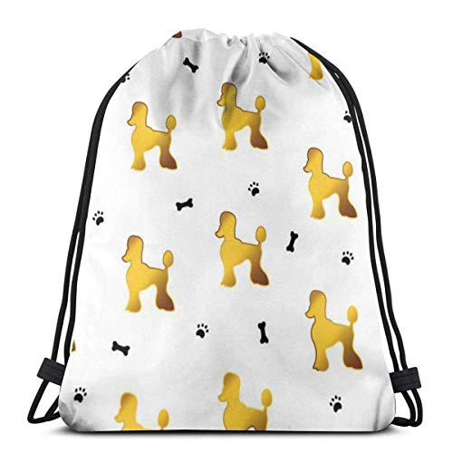BXBX Trasportare Bags Seamless Pattern With Cute Cartoon Gold Dog Water Resistant Sports Gymsack Drawstring Bag