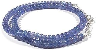 Jaipur Gems Mart Cuentas de tanzanita Natural Rondelle Suave, 162 CTS, 5.5-7 mm, hebra de 16 Pulgadas, hebra de tanzanita ...