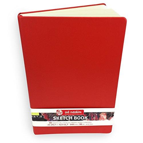 Royal Talens – Art Creation Hardback Sketchbook – 80 Sheets – 140gsm – 21 x 29.7cm – Red Cover
